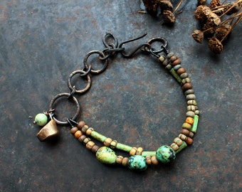 Völva seat bracelet, double turquoise bracelet, rustic shaman bracelet, viking symbol bracelet, seer bracelet, high seat bohemian bracelet