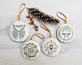 woodland ornament set - pdf embroidery pattern