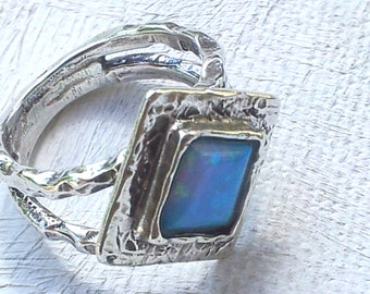 Bohemian Ring sterling silver ring, silver rings blue opal stone, boho ring , sterling silver ring set with blue opal