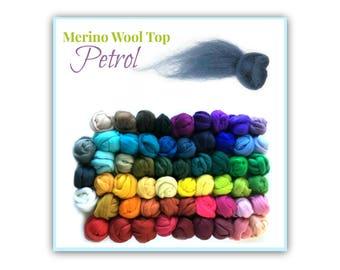 Petrol Felting Wool Top, 1 oz Blue, Blue Merino Felting Wool, Roving combed and carded, Dark Blue Wool for Wet Felting, Needle Felting SA23