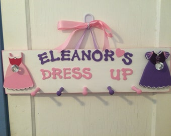 Personalized Dress Up Clothes Hanger - Kids Jewelry Organizer - Chunky Necklace Holder