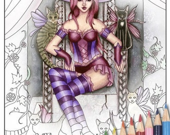 Digital Stamp - Printable Coloring Page - Fantasy Art - Witch Stamp - Heather - by Nikki Burnette - PERSONAL USE