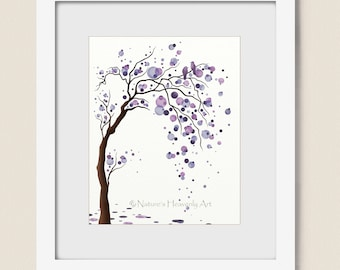 Purple Decor Watercolor Tree Art Print Poster, Abstract Tree Wall Art, Love Birds, Circles Modern Wall Decor 8 x 10 (119)