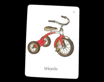Vintage Tricycle Flashcard Illustrated Childs Bike Retro Picture Word Flash Cards Paper Ephemera Collage Kids Room Nursery Decor Art