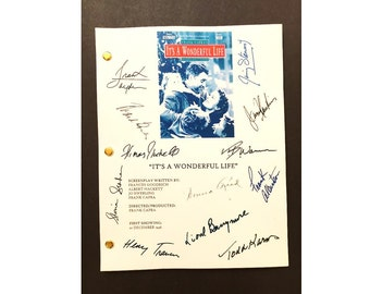 It's a Wonderful Life Signed Script Reprint-  James Stewart, Donna Reed, Lionel Barymore, Henry Travers,