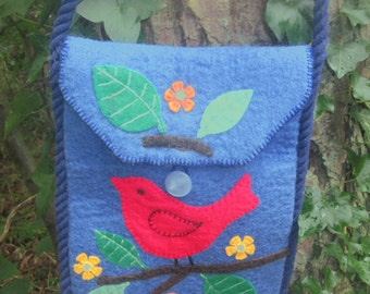 Blue felted womens shoulder messenger crossbody bag with strap and red bird, tree and flowers design, ladies teen tote, iPad gadget bag OOAK