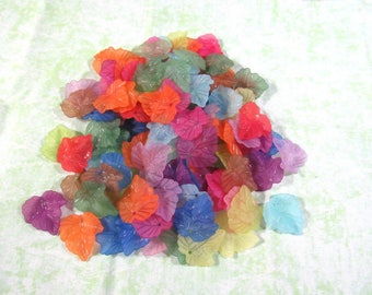 100 Asst Color Frosted Acrylic Leaf Beads-Lg (303a)