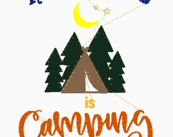 Happiness is Camping Embroidery Design