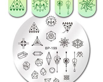 Round Nail Stamping Plate Geometry Catcher Feather Ballet Swan Dream Flame Flower Manicure Nail Art Image Template BP-199