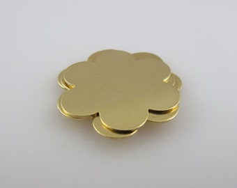 """Brass Stamping Blank 6-Petal Flower Personalized Jewelry 1"""" Round 24 Gauge Qty. 6"""