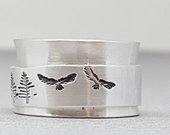 Sterling silver - spinning - spinner - spin - ring - nature inspired jewelry - birds - hawks - trees - ring for her - meditation - hiking