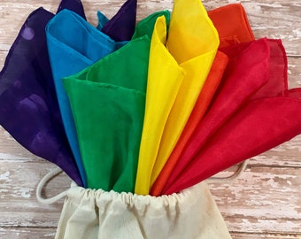 "Waldorf Inspired Rainbow Play Silks 10"" squares, set of 6."
