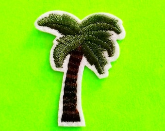 Palm Tree Tropical Summer Fun Resort Flora Green Goodness Fully Embroidered Iron or Sew On Patch - More Styles