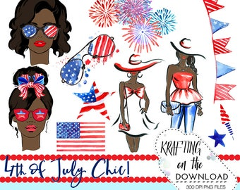 watercolor 4th of july clipart png file watercolor fourth of july clip art set watercolor summer fashion png african american planner girl