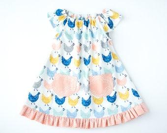 "Chicken Baby Dress/Girls Dress-Ruffled Dress-Pink and Cream-Flutter Sleeve Dress with Pockets-Birch Fabrics-Homestead ""Roost""-Organic"