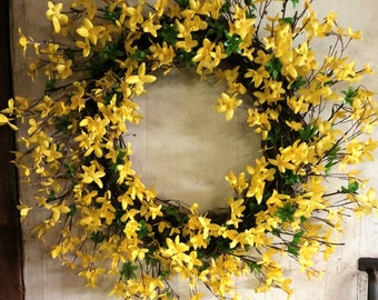 Spring Wreath,  Forsythia Wreath, Easter Wreath, Spring Grapevine Wreath