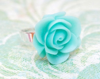 Blue rose cocktail ring gift for her-Teal adjustable ring-Chrysanthemum ring-Flower jewelry gift for mom-Floral ring birthday gift