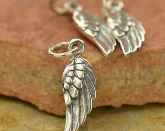 Tiny Sterling Silver Angel Wing Charm, Angel Wing Necklace, Angel Wings, Angel Necklace, Angel Charms, Silver Wings, Angel Wings Charms.