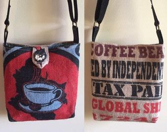 Burlap cross body bag coffee bag purse