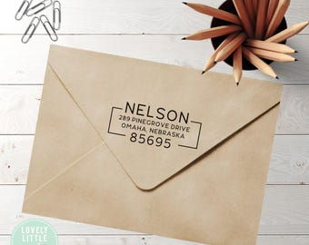 Modern custom return address stamp, self inking stamp or wood handle style 858 - Lovely Little Party