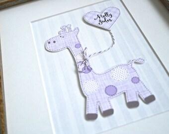 Purple Giraffe, Pink Giraffe, Giraffe Nursery, Purple Nursery Decor, Purple Giraffe Nursery, Personalized Nursery Art