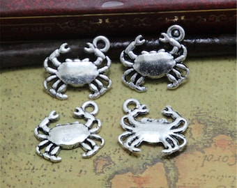 35pcs Crab Charms silver tone Lovely Mini Crab Charm Pendant 17x15mm ASD0286