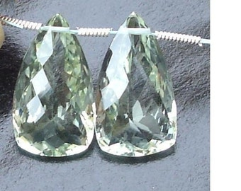 AAA Quality, 20mm Long Green AMETHYST Faceted ELONGATED Trillion Shape Briolettes Matched Pair.
