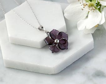 Amethyst Flower Necklace, Silver Flower Necklace, Purple Flower Necklace, Pretty Flower Necklace, Purple Colour Jewellery, Nature Lover Gift