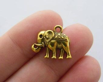 BULK 50 Elephant charms antique gold tone GC159