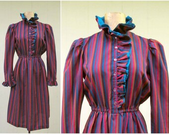Vintage 1970s Dress / 70s Striped Jewel-Toned Ruffled Victorian-Inspired Day Dress / Small