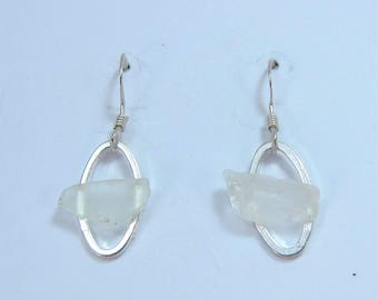 Littest's Mermaid's Tears Earrings - White sea glass from South Shore, Nova Scotia, Canada on small silverplate oval