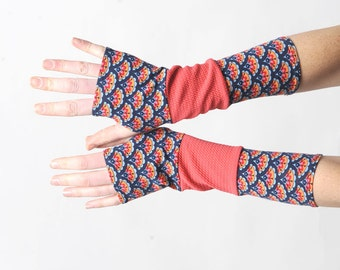 Red and blue armwarmers, Long jersey fingerless gloves in a patchwork of blue, red, coral jersey, Gift for women, Womens accessories, MALAM