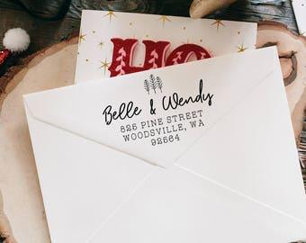 Return Address Stamp, Christmas Address Stamp, Greeting Cards Stamp, Custom Address Stamp, Personalized Address Label, Gay Wedding Stamp