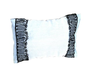 Mini Pillow, made of Reclaimed Denim, and rehabilitated handmade Black Lace, hand sewn, upcycling by SophieLDesign