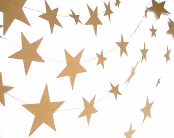 Kraft paper stars garland, paper stars birthday party decor, hygge kraft brown paper garland, eco friendly nursery decor, kids room decor