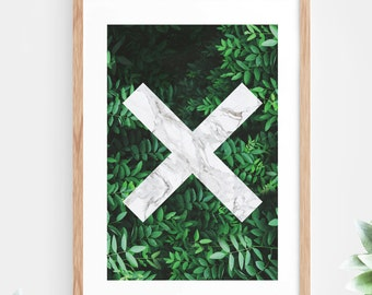 Marble Geometric Printable Wall Art tropical Leaves Leaf Green Fern Plant Jungle Instant Download Downloadable Poster Modern Contemporary