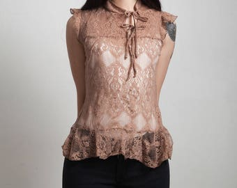 vintage 90s brown lace top asymmetrical cap sleeves peplum EXTRA SMALL XS