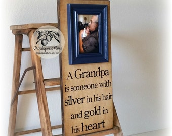 Grandpa Gift, Fathers Day Gift, A Grandpa is Someone With Silver In His Hair and Gold in His Heart, 8x20 The Sugared Plums Frames