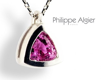 pendant Pink troidien 0.85 Ct Sapphire 18 k Palladium White Gold