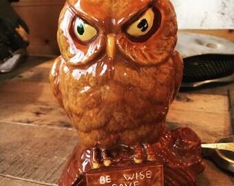 "Be Wise Save"" vintage owl piggybank"