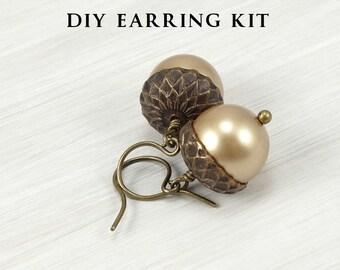 DIY KIT Acorn Kit Earrings with Vintaj Natural Brass and Swarovski Crystal Pearls Autumn Jewelry Kit Fall Beaded Earrings Kit