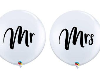 "36"" Mr or Mrs White Round Balloons, 36 inch Balloons, Wedding  ""Same Day Shipping"""