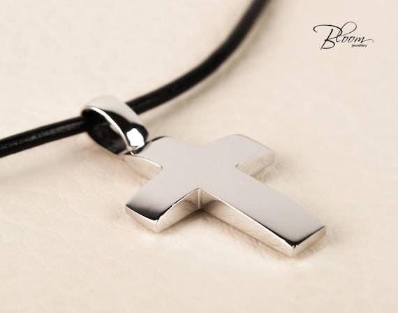 White gold cross necklace for men leather cord cross pendant aloadofball Gallery