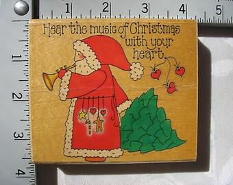 Vintage Penny Black Country Folk Santa DESTASH Rubber Stamp, Santa's Music 193K, Used Rubberstamp, Country Primitive Santa Claus