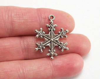 6 Snowflake charms, large, 28x22mm, antique silver finish