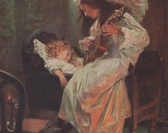 Angel Playing Music For A Sleeping Child Antique Art Postcard