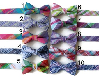 Boys Madras Plaid Bow Ties~Boys Bow Tie~Boys Plaid Bow Ties~Cotton Bow Tie~Navy Bow Tie~Church Tie~Plaid Bow Tie~Wedding~Ring Bearer~Gift