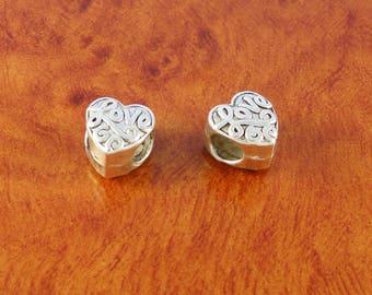 Love heart beads / 2 silver charm bracelet beads / double sided beads for European bracelet
