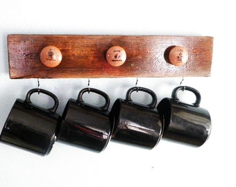 Coffee Barista Cup Holder..Java Queen Coffee Lover..Decorative Knobs with Large Hooks for 4 Cups..Kitchen Decor Organizer