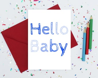 New baby boy card - new parents card - hello baby card - ombre blue baby card - welcome baby card - new mum card - baby shower card - baby